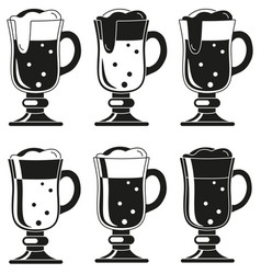 Black and white fancy beer glass silhouette set vector