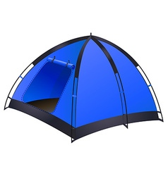 Blue camping tent on white vector