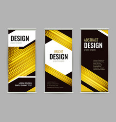 bright roll-up banner with golden lines on dark vector image