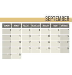 calendar planner 2019 monthly planner september vector image