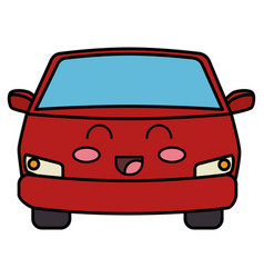 Car vehicle kawaii character vector