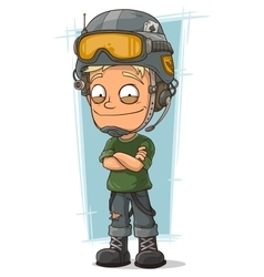 Cartoon blond soldier with cool helmet vector