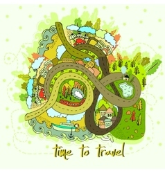 Cartoon map time to travel vector