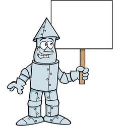 Cartoon tin man holding a sign vector image vector image