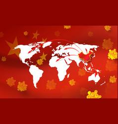 china pathogen respiratory coronavirus world map vector image