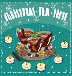 Christmas tea in mugs with sweets and cookies vector