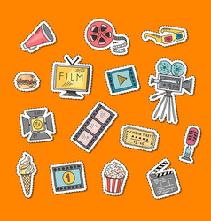 cinema doodle icons stickers set vector image