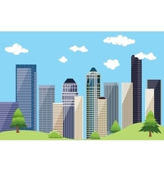 City urban landscape with building skyscrapper and vector