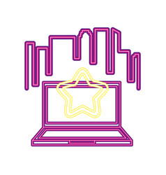 computer star neon video game vector image