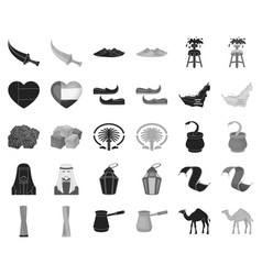 country united arab emirates blackmonochrome vector image