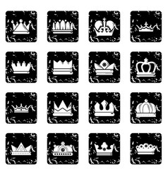 Crown gold icons set grunge vector
