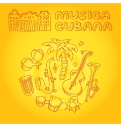 Cuban music with musical instruments vector image vector image