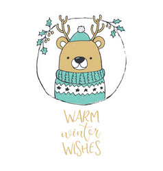 Cute christmas bear portrait warm winter wishes vector