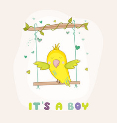 cute parrot swinging baby shower or arrival card vector image