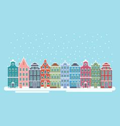 cute snowy christmas town vector image