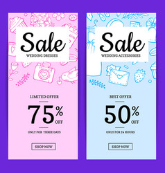 doodle wedding elements sale web banner vector image