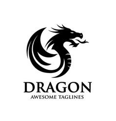 Dragon silhouette circle logo design vector