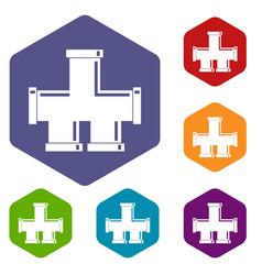 Drain system icons set hexagon vector