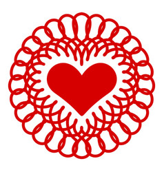embroidery heart icon simple style vector image