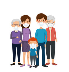 Family members using face mask vector