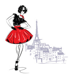 Fashion girl in sketch-style fashion woman vector