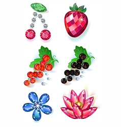 Fruit flowers colored gems brooches set vector