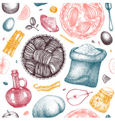 fruits cakes cooking process background seamless vector image