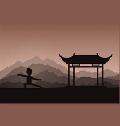 Girl performing qigong or taijiquan exercises in vector