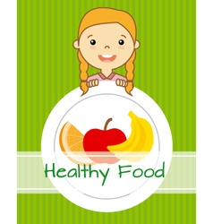 girl with fruit vector image