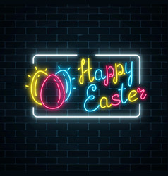 Glowing neon happy easter signboard with eggs and vector