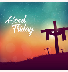 good friday for christian religious with cross vector image
