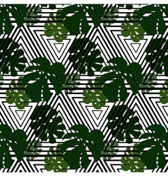 green leaves on striped background vector image