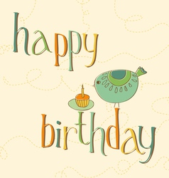 greeting birthday card with cute bird and cake wit vector image