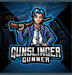 Gunslinger esport mascot logo design vector