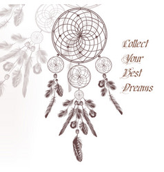 hand drawn dream catcher in engraved style vector image