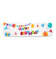 happy birthday celebration banner with colorful vector image