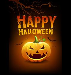 happy halloween message pumpkins and bat vector image