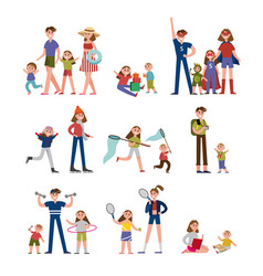 Happy moments in family life activity and leisure vector