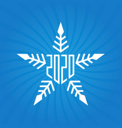 happy new year 2020 greeting card with snowflake vector image