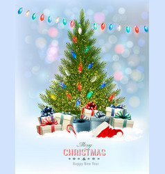 holiday background with a christmas tree vector image