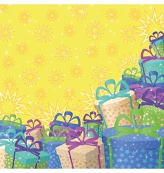 Holiday gift boxes background vector image