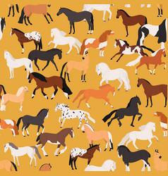 horses seamless pattern flat vector image