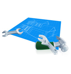 house blueprint construction concept vector image