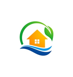 house leaf ecology environment water logo vector image