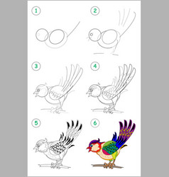 How to draw step step a cute little bird vector