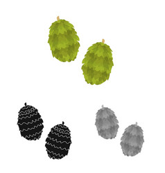 Isolated object humulus and plant symbol set vector