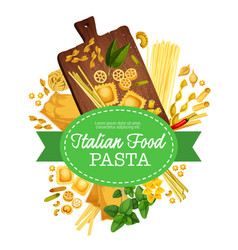 Italian pasta food linguini and homemade ravioli vector