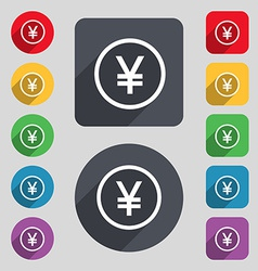 Japanese Yuan icon sign A set of 12 colored vector image