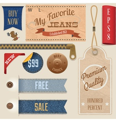 Jeans label set vector image