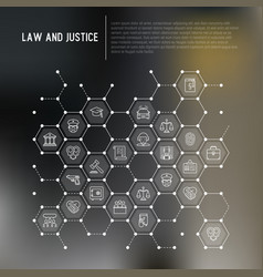 Law and justice concept in honeycombs vector